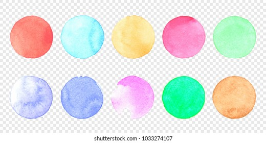 Vector pastel watercolor circle set. Color smear of watercolour splash stain on transparent background. Round hand drawn watercolor background with yellow, blue, red, pink, orange, green ink color.