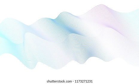Vector pastel wave pattern, striped shiny waveform. Abstract background in light blue, pink, turquoise. Ripple, flowing waving design element. Art line concept, ribbon imitation. EPS10 illustration