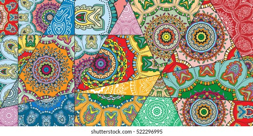 Vector patchwork pattern. Vintage decorative elements. Hand drawn background. Indian, Arabic, Turkish motifs for printing on fabric or paper. Abstract colorful doodle pattern in mosaic style