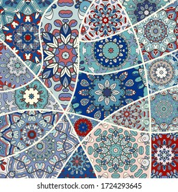 Vector patchwork quilt pattern. Vintage decorative collage. Hand drawn background. Indian, Arabic, Turkish motifs for printing on fabric or paper. Abstract colorful doodle pattern in mosaic style