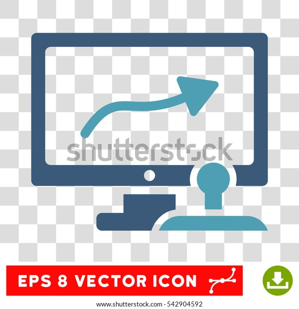 Vector Path Control Monitor EPS vector pictogram. Illustration style is flat iconic bicolor cyan and blue symbol on a transparent background.