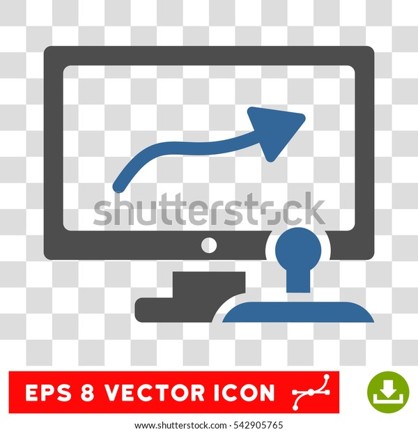 Vector Path Control Monitor EPS vector icon. Illustration style is flat iconic bicolor cobalt and gray symbol on a transparent background.