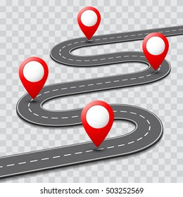Vector pathway road map with route pin icon on the way track. Roadmap template design