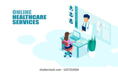 Vector of a patient meeting a doctor online using modern computer technology. Online medical consultation concept