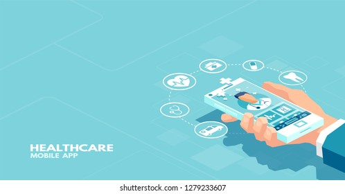 Vector of a patient using smartphone application communicating with professional doctor online. Online medical consultation concept