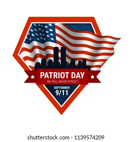 Vector patriot day illustration. We will newer forget 911/ Vector patriotic illustration with american flag