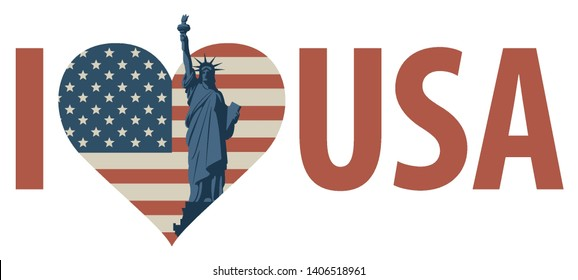 Vector patriotic banner with words I love USA and heart shaped flag with statue of liberty. US symbol. I love USA sticker, slogan, design with conceptual heart and flag icon