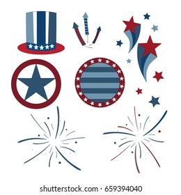 Vector patriotic graphics with red white and blue color theme and stars and stripes throughout.