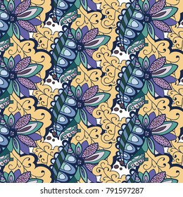 Vector pattern abstract background with colorful ornament. Hand draw illustration.