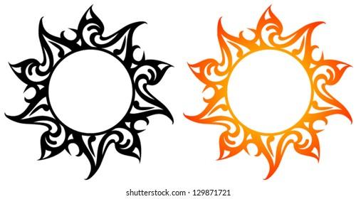 Vector pattern, abstract sun, flower, star. Tattoo.