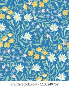 Vector pattern with Altai mountain herbs: wild yellow poppies, forget-me-nots, edelweiss. Beautiful print for fabric