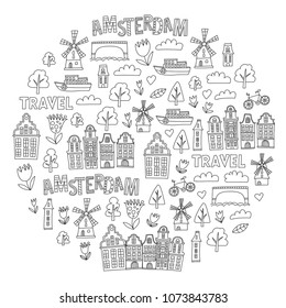Vector pattern with Amsterdam city House, architecture, mill, tulip. Holland doodle icon
