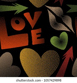 Vector pattern with arrow, hearts, kissing lips, love text in dots. Seamless design in yellow, black and orange colors for posters, wallpaper, wrapping paper.