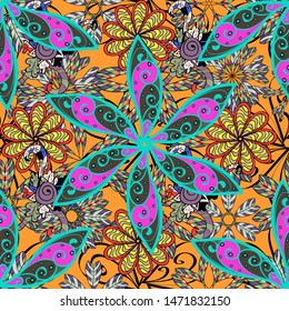 Vector pattern. Art inspigray, blue and orange style flowers and leaves background. Doodle flowers seamless pattern. Gray, blue and orange hand drawn pattern.