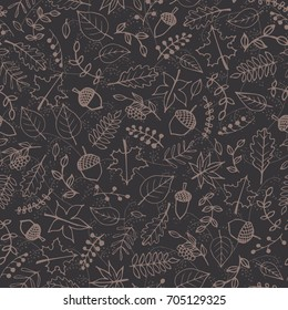 Vector pattern with autumn elements contours: brown foliage, berries and acorns on the gray background. Maple, sycamore, birch, beech and oak tree leaves. Beautiful hand drawn line art.