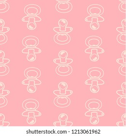 vector pattern of baby nipple soothers, vector themed background for newborn babies and their parents in pink colors