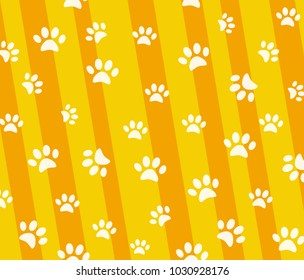 Vector pattern and background with icons footprint to cat and dog - abstract background for pet shop websites and prints. Light marks on a yellow background.