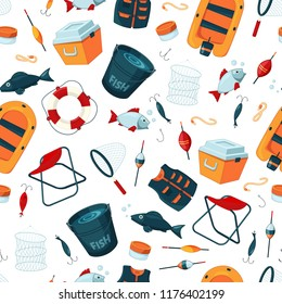 Vector pattern or background illustration with cartoon fishing equipment. Fishing equipment background, outdoor sport and hobby