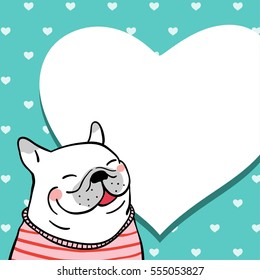 Vector pattern background of pug dog valentine and little heart and pastel color.Doodle style.