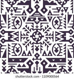 Vector Pattern Background in Techno Tribal Style. Mix of Monochrome Shapes for Cover Design. Modern Art Vector Illustration