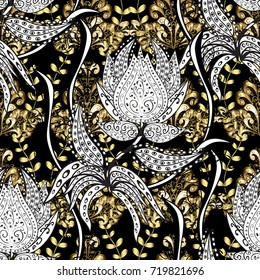 Vector pattern background wallpaper with gold antique floral medieval decorative flowers, leaves and gold pattern ornaments on black, white colors. Seamless royal luxury golden baroque damask vintage.