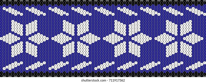 Vector pattern of beads of the Mexican people huichol