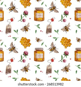 Vector pattern with bee, honeycomb, clover flowers, leaves, tea bags. Watercolor pattern with nature healthy lifestyle .