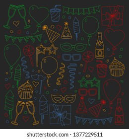 Vector pattern with bithday icons. Holiday and celebration.