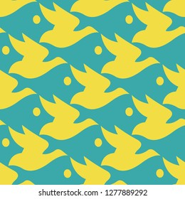 Vector pattern blue and yellow silhouette bird and fish seamless background in Escher style.