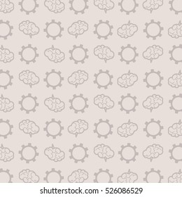 vector pattern of  brains and gears on a gray background,