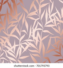 Vector pattern with branches with imitation surface of pink gold. Decorative background for design of cards, invitations, cases, packaging, covers and much more