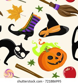 Vector pattern with broom and pumpkin, cat and candy, apple, hat and boot of witch for Halloween on white background in flat style.