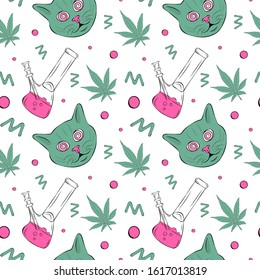 Vector pattern with cannabis and cat