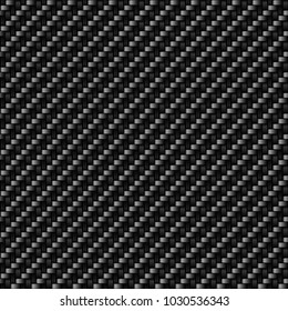 Vector pattern of carbon  fibres material surface. Black textile fiber macro texture. Light carbon fibre fabric seamless dark background