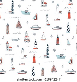 Vector pattern of cartoon doodle lighthouses and sailboats.