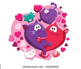 Vector pattern with cats and hearts, st. Valentine's day group, red and pink