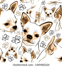 Vector pattern with Chihuahua and bone