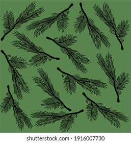 Vector pattern with christmas tree branches   on green background.