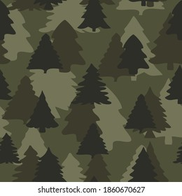 Vector pattern Christmas trees seamless camouflage vector graphics for textiles. Fashionable print.