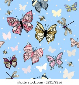 Vector pattern with colorful butterflies, dragonfly and bee