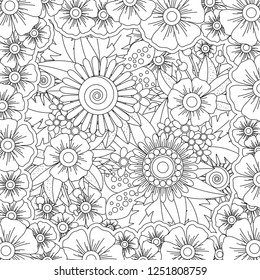 Vector pattern for coloring book. Ethnic retro design in zentangle style with floral elements,Black square shaped line art