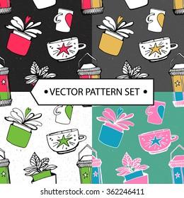 vector pattern comfortable homelike set