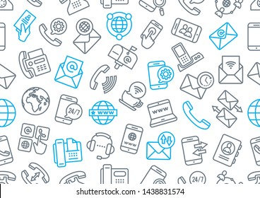 Vector pattern contact in business on a white background. Illustration of accessories related to communication.