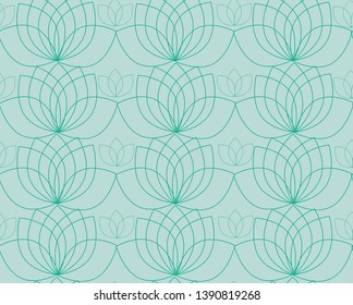Vector pattern with contour of water lilies or lotos. Soft blue or turquoise color texture, wallpaper, background.