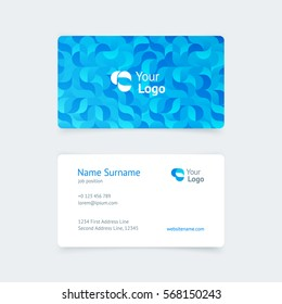 Vector pattern creative vintage business card with a blue pattern of waves, beauty, food, business, health, services. Simple and clean design with a logo. Creative layout corporate identity.