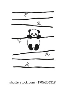 Vector pattern cute little Panda bear hanging on a branch,on striped background.Typography for abstract printing T-shirts.