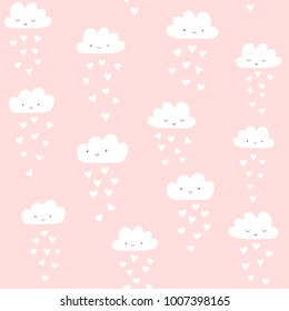 Vector pattern with cute smiling clouds with heart rain. Valentine's day seamless background.