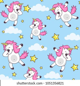 Vector pattern with cute unicorns, clouds and stars. Magic background with little Dabbing unicorns. Cute funny unicorn dancing dab vector cartoon illustration.
