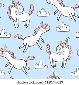Vector pattern with cute unicorns and clouds. Magic background.