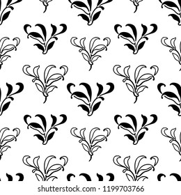 Vector pattern of decorative floral elements